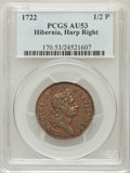 Colonials: , 1722 1/2P Hibernia Halfpenny, Type Two, Harp Right AU53 PCGS. PCGSPopulation (3/9). NGC Census: (1/3). (#170)...