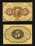 Fractional Currency:First Issue, Fr. 1231SP 5¢ First Issue Face and Back Specimen Notes About New.. ...