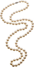 Estate Jewelry:Necklaces, Cultured Pearl, White Gold Necklace. ...