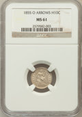 Seated Half Dimes: , 1855-O H10C Arrows MS61 NGC. NGC Census: (4/60). PCGS Population(1/34). Mintage: 600,000. Numismedia Wsl. Price for proble...