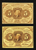 Fractional Currency:First Issue, Fr. 1231 5¢ First Issue About New and Fr. 1230 5¢ Very Fine.. ...