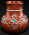 American Indian Art:Pottery, A SAN ILDEFONSO ETCHED REDWARE JAR. Tony Da. c. 1965. ...