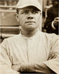 Baseball Collectibles:Photos, 1914-16 Babe Ruth in Boston Red Sox Uniform News Photograph....