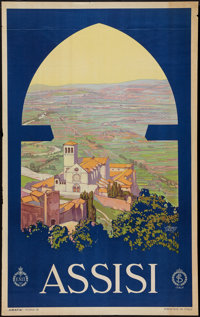 "Assisi by Vittorio Grassi (ENIT, 1930s). Italian Travel Poster (25"" X 40""). Miscellaneous"