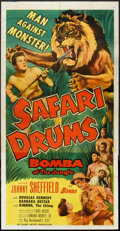 "Movie Posters:Adventure, Safari Drums (Allied Artists, 1953). Three Sheet (41"" X 80.5"").Adventure.. ..."