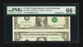 Error Notes:Major Errors, Fr. 1918-E $1 1993 Federal Reserve Note. PMG Gem Uncirculated 66EPQ.. ...
