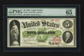 Large Size:Legal Tender Notes, Fr. 61b $5 1862 Legal Tender PMG Gem Uncirculated 65 EPQ.. ...