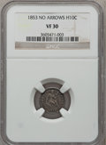 Seated Half Dimes: , 1853 H10C No Arrows VF30 NGC. NGC Census: (1/120). PCGS Population(4/102). Mintage: 135,000. Numismedia Wsl. Price for pro...