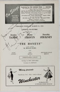 Autographs:Celebrities, Jessica Tandy (1909-1994, British-born Actor) and Hume Cronyn(1911-2003, Canadian Actor). Signed Broadway Playbill from the P...