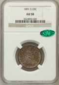 Seated Quarters: , 1891-S 25C AU58 NGC. CAC. NGC Census: (18/132). PCGS Population(31/124). Mintage: 2,216,000. Numismedia Wsl. Price for pro...