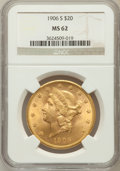 Liberty Double Eagles: , 1906-S $20 MS62 NGC. NGC Census: (1775/742). PCGS Population(1688/1349). Mintage: 2,065,750. Numismedia Wsl. Price for pro...