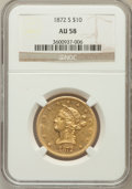 Liberty Eagles: , 1872-S $10 AU58 NGC. NGC Census: (13/2). PCGS Population (3/0).Mintage: 17,300. Numismedia Wsl. Price for problem free NGC...