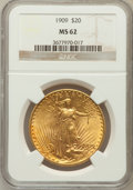 Saint-Gaudens Double Eagles: , 1909 $20 MS62 NGC. NGC Census: (438/230). PCGS Population(567/879). Mintage: 161,282. Numismedia Wsl. Price for problemfr...