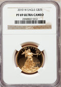 Modern Bullion Coins, 2010-W $25 Half-Ounce Gold Eagle PR69 Ultra Cameo NGC. NGC Census:(0/0). PCGS Population (1500/736). Numismedia Wsl. Pric...