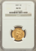 Three Dollar Gold Pieces: , 1859 $3 AU55 NGC. NGC Census: (115/267). PCGS Population (67/159).Mintage: 15,558. Numismedia Wsl. Price for problem free ...