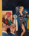 Pulp, Pulp-like, Digests, and Paperback Art, BERNARD SAFRAN (American, 1924-1995). The Indiscretions of aFrench Model, paperback cover, 1953. Oil on canvas board. 1...