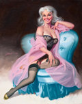 """Pin-up and Glamour Art, DONALD """"RUSTY"""" RUST (American, b. 1932). Seated Pin-Up in BlackLingerie, 1995. Oil on canvas. 30 x 23.75 in.. Signed ce..."""