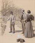 Mainstream Illustration, ARTHUR BURDETT FROST (American, 1851-1928). Soliciting ForWork. Ink wash and gouache on board. 15.75 x 12.75 in..Signe...