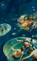 Pulp, Pulp-like, Digests, and Paperback Art, JOHN CONRAD BERKEY (American, 1932-2008). Lifeboat, paperbackcover, 1972. Acrylic on board. 14.5 x 9 in.. Signed lower ...