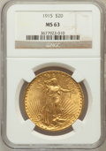 Saint-Gaudens Double Eagles: , 1915 $20 MS63 NGC. NGC Census: (369/411). PCGS Population(573/331). Mintage: 152,050. Numismedia Wsl. Price for problemfr...