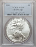 Modern Bullion Coins: , 1996 $1 Silver Eagle MS69 PCGS. PCGS Population (4865/0). NGCCensus: (81539/128). Mintage: 3,603,386. Numismedia Wsl. Pric...