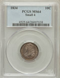 Bust Dimes: , 1834 10C Small 4 MS64 PCGS. PCGS Population (30/9). NGC Census:(46/31). Mintage: 635,000. Numismedia Wsl. Price for proble...
