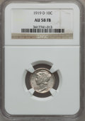 Mercury Dimes: , 1919-D 10C AU58 Full Bands NGC. NGC Census: (6/94). PCGS Population(1/171). Mintage: 9,939,000. (#4925). From The Fred ...