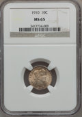Barber Dimes: , 1910 10C MS65 NGC. NGC Census: (64/32). PCGS Population (71/29).Mintage: 11,520,551. Numismedia Wsl. Price for problem fre...