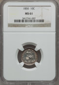 Seated Dimes: , 1850 10C MS61 NGC. NGC Census: (5/77). PCGS Population (4/64). Mintage: 1,931,500. Numismedia Wsl. Price for problem free N...