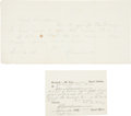 Autographs:Military Figures, William T. Sherman Autograph Note Signed...
