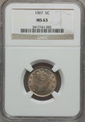 Liberty Nickels: , 1907 5C MS63 NGC. NGC Census: (130/302). PCGS Population (202/350).Mintage: 39,214,800. Numismedia Wsl. Price for problem ...