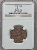 Half Cents: , 1833 1/2 C AU58 NGC. C-1. NGC Census: (53/281). PCGS Population(75/197). Mintage: 120,000. Numismedia Wsl. Price for prob...