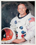 Autographs:Celebrities, Neil Armstrong: Signed Color White Spacesuit Photo. ...