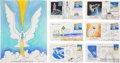 Autographs:Artists, Robert T. McCall: Large Signed Color Pastel Sketch with a Collection of Six Signed Sketches on First Day Covers.... (Total: 7 Items)