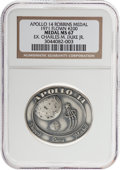 Explorers:Space Exploration, Apollo 14 Flown MS67 NGC Silver Robbins Medallion Originally from the Personal Collection of Moonwalker Charlie Duke, Serial N...