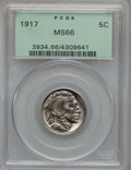 Buffalo Nickels: , 1917 5C MS66 PCGS. PCGS Population (137/13). NGC Census: (50/6).Mintage: 51,424,020. Numismedia Wsl. Price for problem fre...