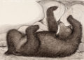 Pulp, Pulp-like, Digests, and Paperback Art, GARTH WILLIAMS (American, 1912-1996). Fox Eyes, page 16-17illustrations, 1977. Charcoal pencil and ink wash on board.1... (Total: 3 Items)