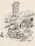 Pulp, Pulp-like, Digests, and Paperback Art, GARTH WILLIAMS (American, 1912-1996). The Turret, original coverart, 1963. Pen on paper laid on board. 16.5 x 11 in. (m...(Total: 3 Items)