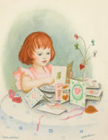 Pulp, Pulp-like, Digests, and Paperback Art, GARTH WILLIAMS (American, 1912-1996). Over and Over, page 8illustration, 1957. Watercolor on paper laid on board. 10.75...