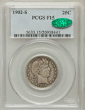 Barber Quarters: , 1902-S 25C Fine 15 PCGS. CAC. PCGS Population (4/118). NGC Census:(1/86). Mintage: 1,524,612. Numismedia Wsl. Price for pr...