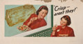 """Mainstream Illustration, AMERICAN ARTIST (20th Century). """"Crisp- Aren't They!"""", NationalBiscuit Company billboard advertisement, 1948. Oil on ca..."""
