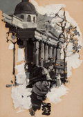 Mainstream Illustration, DEAN CORNWELL (American, 1892-1960). Policeman withParliamentary Building, 1925. Oil on board. 8.5 x 6 in..Initialed l...