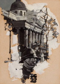 DEAN CORNWELL (American, 1892-1960) Policeman with Parliamentary Building, 1925 Oil on board 8.5