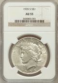 Peace Dollars: , 1935-S $1 AU55 NGC. NGC Census: (106/2654). PCGS Population(146/3998). Mintage: 1,964,000. Numismedia Wsl. Price for probl...