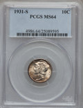 Mercury Dimes: , 1931-S 10C MS64 PCGS. PCGS Population (139/137). NGC Census:(77/146). Mintage: 1,800,000. Numismedia Wsl. Price for proble...