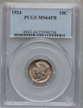Mercury Dimes: , 1924 10C MS64 Full Bands PCGS. PCGS Population (188/235). NGCCensus: (97/175). Mintage: 24,010,000. Numismedia Wsl. Price ...