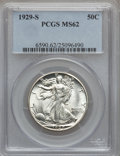 Walking Liberty Half Dollars: , 1929-S 50C MS62 PCGS. PCGS Population (49/615). NGC Census:(50/448). Mintage: 1,902,000. Numismedia Wsl. Price for problem...