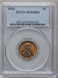 Lincoln Cents: , 1924 1C MS65 Red PCGS. PCGS Population (195/73). NGC Census:(98/56). Mintage: 75,178,000. Numismedia Wsl. Price for proble...