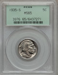 Buffalo Nickels: , 1935-S 5C MS65 PCGS. PCGS Population (998/415). NGC Census:(448/135). Mintage: 10,300,000. Numismedia Wsl. Price for probl...
