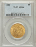 Early Half Eagles: , 1808 $5 MS64 PCGS. PCGS Population (14/2). NGC Census: (6/1).Mintage: 55,578. Numismedia Wsl. Price for problem free NGC/P...
